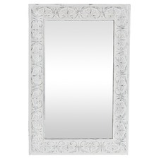 Distressed White Juno Metal Mirror