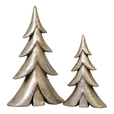 2 Piece Silver Christmas Tree Ornament Set