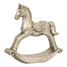 Silver Terracotta Rocking Horse Ornaments (Set of 2)