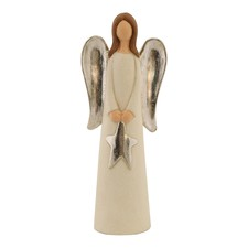 Large Standing Angels with Silver Stars (Set of 2)