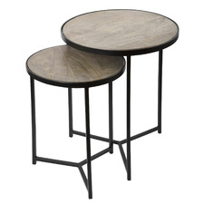 2 Piece Sierra Wood & Iron Nesting Tables Set