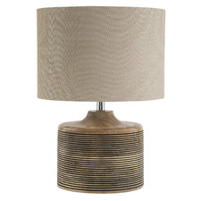 Tabitha Ribbed Wooden Table Lamp
