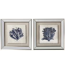 2 Piece Blue Coral Framed Printed Wall Art Set