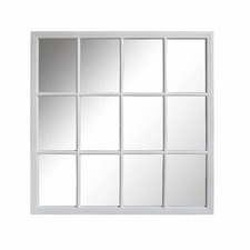 Matte White Venice Square Paned Wall Mirror