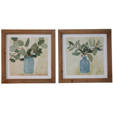 2 Piece Leaves in Vases Framed Printed Wall Art Set