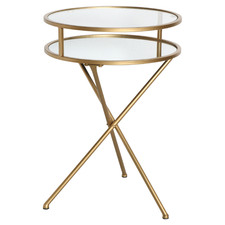 Gold Megan Glass Folding Side Table