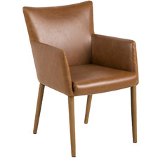 Brown Carver Faux Leather Dining Chair