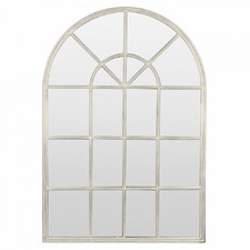 White Arched Iron Wall Mirror with Panes