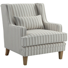 Grey & Cream Bronte Striped Upholstered Armchair