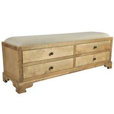 Light Timber Elettra Upholstered Storage Ottoman
