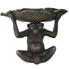 Sitting Monkey With Leaf On Head Statue