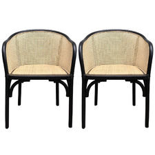 Black Dinmona Rattan Dining Chairs (Set of 2)