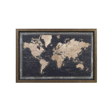 Framed Canvas World Map with LEDs