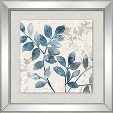 Blue Leaf Left Framed Printed Wall Art