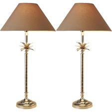 Polished Nickel Pineapple Table Lamp (Set of 2)