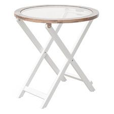 Bobbi Acacia Wood & Glass Side Table