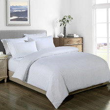White Striped 1000TC Bamboo-Blend Quilt Cover Set