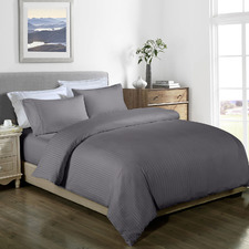 Charcoal Striped 1000TC Bamboo-Blend Quilt Cover Set