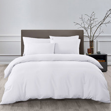 6 Piece White Bamboo-Blend Quilt Cover & Fitted Sheet Set