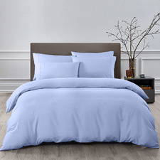 6 Piece Light Blue Bamboo-Blend Quilt Cover & Fitted Sheet Set