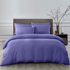 6 Piece Royal Blue Bamboo-Blend Quilt Cover & Fitted Sheet Set
