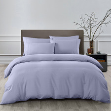 6 Piece Lilac Grey Bamboo & Microfibre Quilt Cover & Fitted Sheet Set