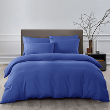 6 Piece Royal Blue Bamboo & Microfibre Quilt Cover & Fitted Sheet Set