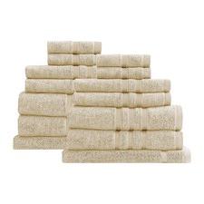14 Piece Beige Renee Taylor Aria Towel Set