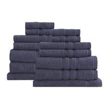 14 Piece Steel Blue Renee Taylor Aria Towel Set