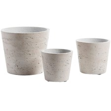 3 Piece Light Grey Cement Planter Set