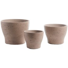 3 Piece Brown Cement Planter Set