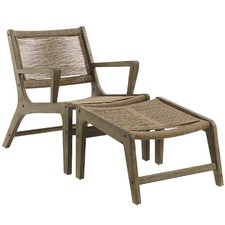 Beige Kaylee Rope Outdoor Armchair & Footrest Set
