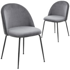 Colette Black Leg Velvet Dining Chair (Set of 2)