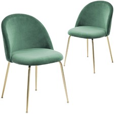 Gold Leg Velvet Dining Chair (Set of 2)