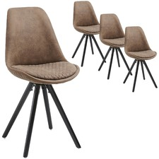 Quilted Fabric Flow Dining Chair (Set of 4)