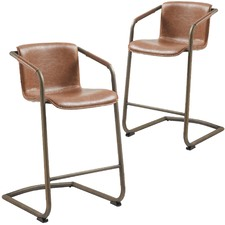 Brown Cindy Cantilever Barstool (Set of 2)