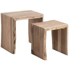 2 Piece Teo Wood Nesting Tables Set
