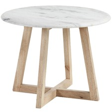 White Faris Marble Round Side Table