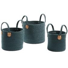 3 Piece Green Rania Cotton Rope Basket Set