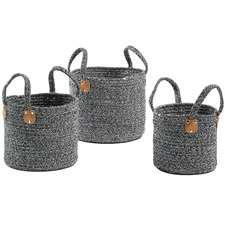 3 Piece Navy Aida Cotton Rope Basket Set