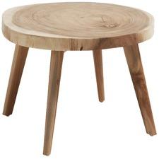 Round Leonard Wood Side Table