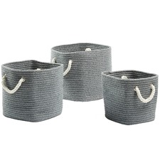 3 Piece Grey Yaseen Cotton Rope Basket Set