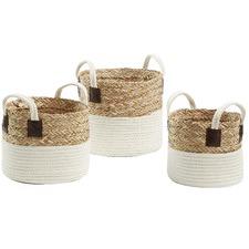 3 Piece Natural & White Thalia Basket Set