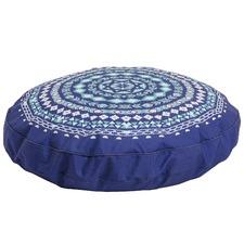 Blue Tahbert Round Outdoor Pouffe