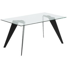 Clear & Black Hanne Glass Dining Table