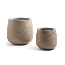 2 Piece Brown Jillian Cement Pot Set