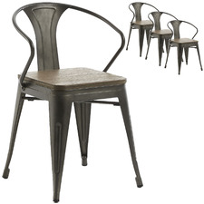 Graphite Peter Metal & Wood Dining Chairs (Set of 4)