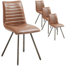 Tan Rakin Faux Leather Dining Chairs (Set of 4)
