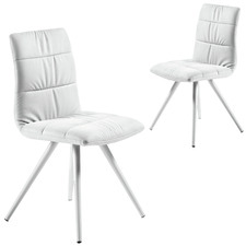 White Donny Faux Leather Dining Chairs (Set of 2)
