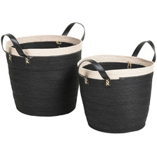 2 Piece Black & Cream Woven Paper Rope Baskets